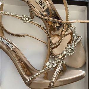 Rose gold crystal reflective heels.